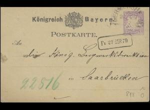 Bayern Postkarte Wappen 5 Pfennig: GERMERSHEIM 26.9. & Rahmeneingangs-O 27.9.79