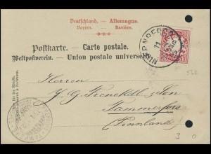 Bayern Postkarte Ultramarinfarbriken NÜRNBERG 11.1.95 nach TAMMERFORS 15.1.95