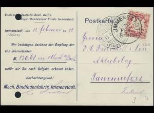 Bayern Postkarte Mech. Bindfadenfabrik IMMENSTADT 11.2.11 nach TAMMERFORS 15.11.