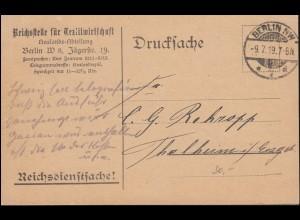 Reichsdienstsache Reichsstelle für Textilwirtschaft Postkarte BERLIN 9.7.1919