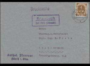 Landpost Krumbach über FÜRTH (ODENWALD) 30.9.52, Briefvorderseite mit EF 124