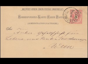 Österreichische Post in der Levante: Postkarte P 5 II CONSTANTINOPEL 7.9.1886