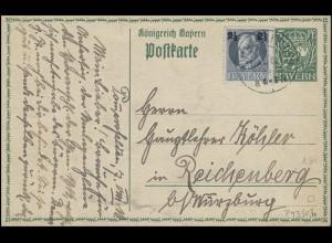 Bayern Postkarte Wappen 5 Pf. mit Zusatzfrankatur POMMERSFELDEN 7.8.16