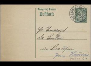 Bayern Postkarte Wappen 7 1/2 Pf. OBERAMMERGAU 5.11.16