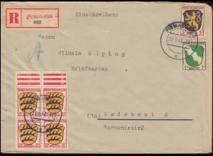 1+2+8 Freimarken Wappen 1, 3, 20 Pf MiF R-Brief Not-R-Zettel PIRMASENS 27.3.47