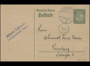 Bayern Postkarte Wappen 7 1/2 Pf. DONAUWÖRTH 20.9.18 mit Kreisstempel 4