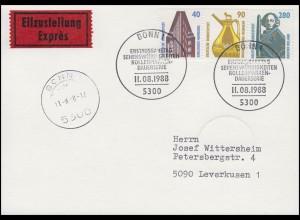1379-1381 SWK Chilehaus & Bronzekanne & Rolandsäule,Eil-FDC-PK ESSt Bonn 11.8.88