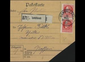 Bayern König Ludwig 15 Pf. als MeF auf Paketkarte SCHOELLNACH/Schöllnach 16.5.17