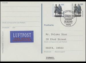Postkarte P 157 Goethe-Schiller +1934A SWK LP-FDC ESSt Berlin nach Israel