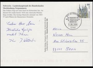 2156 SWK Schloss Schwerin, EF FDC-Ansichtskarte Schwerin ESSt Berlin 11.1.2001