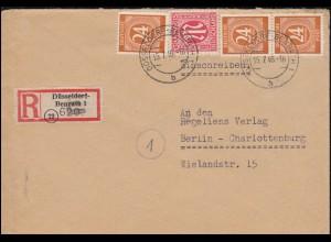 8 AM-Post 15 Pf. mit 923 Gemeinschaft 24 Pf R-Brief DÜSSELDORF-BENRATH 15.7.1946