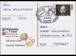 PSo 39 Philatelia Köln mit T'card mit SSt Köln 100 Jahre Film 20.10.95