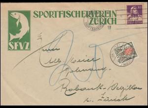 Schweiz 118 Tell mit Portomarke P 37 auf Brief Sportfischerverein ZÜRICH 1.11.31