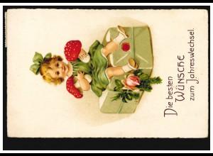 Ansichtskarte Neujahr Mädchen mit Fliegenpilzen und Geschenk, LÖHNE 31.12.1936