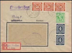 914+925 Gemeinschaft mit 3 AM-Post R-Bf. Not-R-Zettel ETTLINGEN / BADEN 26.4.46