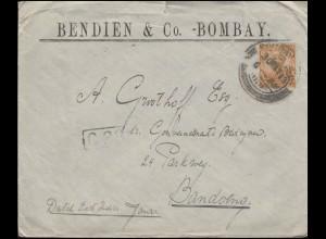 Indien 60 König Eduard 3 Annas EF Brief BOMBAY 30.3.23 nach Bandoeng & C 28