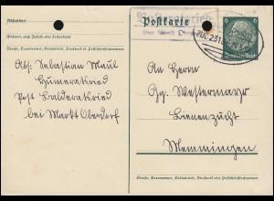 Landpost Balteratsried über Markt Oberdorf Postkarte Bahnpost ZUG 2315 - 24.5.39