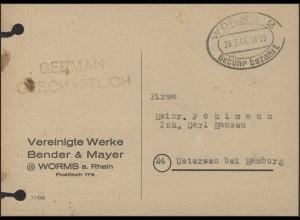 Gebühr-bezahlt-Stempel Postkarte Worms 28.3.1946
