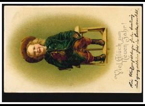 Ansichtskarte Neujahr Lächelndes Mädchen auf einem Stuhl, CÖLN 30.12.1905