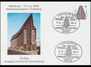 Privatpostkarte SWK 40 Hamburg Tor zur Welt Chilehaus, FDC ESSt HAMBURG 11.8.88