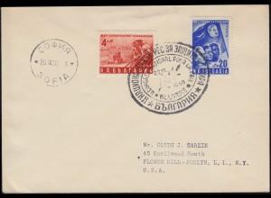 Bulgarien 753-754 Bulgarischer Friedenskongress Satz auf USA-Brief SSt 20.9.50