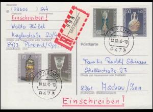 95BII und 87II in MiF auf Paketkarte von ISERLOHN 27.6.18 nach Konstantinopel
