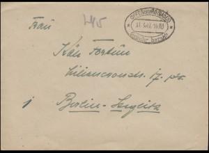 Gebühr-bezahlt-Stempel OFFENBURG (BADEN) 31.3.1947 auf Brief n. Berlin-Steglitz