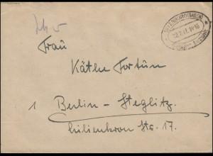 Gebühr-bezahlt-Stempel OFFENBURG (BADEN) 12.2.47 auf Brief nach Berlin-Steglitz