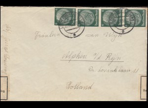 Zoll Devisenüberwachung / Zensur-Brief Hindenburg-Marken LEER ( OSTFR.) 22.11.38