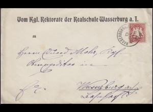 Bayern: 10 Pf. Wappen EF Orts-Brief Rektorat Realschule WASSERBURG 13.1.07