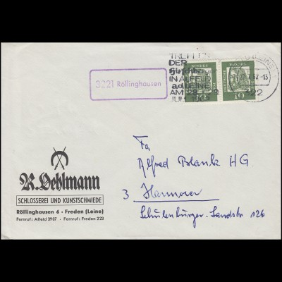 Landpost Röllinghausen auf Brief MeF 350y als Paar ALFELD (LEINE) 22.7.62