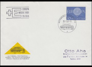 Schweiz 721 EUROPA / CEPT Schmuck-Brief passender SSt AUTOMOBIL-POSTBÜRO 30.4.61