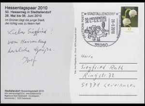 Ansichtskarte Hessentagspaar 2010, EF SSt Stadtallendorf Hessentag 28.5.2010