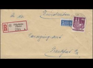93eg Bauten 60 Pf mit Notopfer als EF auf R-Brief FLÖRSHEIM (MAIN) 4.8.1951