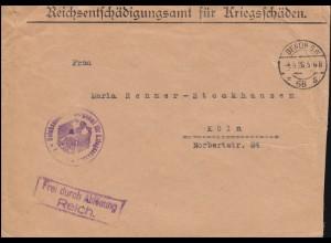 Frei durch Ablösung Reichsentschädigungsamt für Kriegsschäden BERLIN 4.8.1926