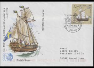 USo 8 IBRA & Postjacht Hiorten, FDC ESSt Nürnberg Deutsche Briefmarken 27.4.1999