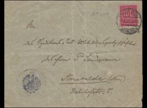 Dienst 74 Ziffer 100 Mark EF auf Brief Oberförsterei WALDENBERG (NEUMARK) 4.4.23
