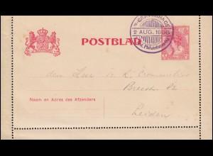 Niederlande Kartenbrief K 9 mit SSt s'GRAVENHAGE 1. Philatelistentag 2.8.1906