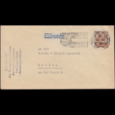 354y Kant 3x 30 Pf. Paar MeF R-Brief FRANKFURT / MAIN 14.12.62 nach Opladen