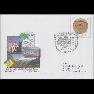 USo 175 Briefmarkenbörse München, passender SSt München ALPEN-ADRIA 5.3.2009