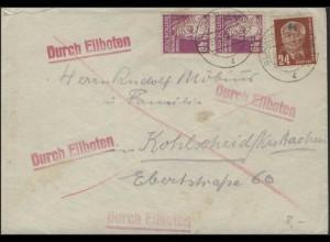 223 Hauptmann 40 Pf + DDR 252 Pieck MiF Eil-Bf. Glauchau 7.5.51