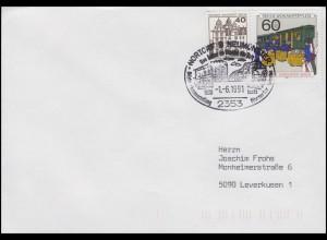 Geschichte der Post: Bahnpost, Brief mit SSt Nortorf Stadtansicht 1.6.1991