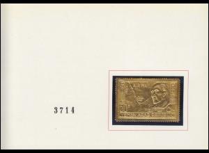 Nordjemen 629 Konrad Adenauer auf Goldfolie in offizieller Faltkarte, numeriert