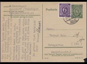 Bizone Postkarte P 901b Ziffer mit 916 Ziffer DONZDORF 24.4.46 nach Weingarten