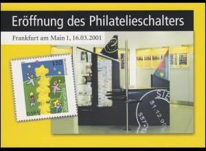 Klappkarte Eröffnung des Philatelieschalters Frankfurt/Main mit SSt 16.3.2001