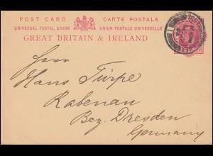 Großbritannien Postkarte P 31 Eduard VII. 1. P. karmin, SOUTHAMPTON 27.9.1909