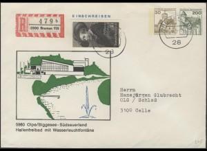 Umschlag 30+200 Pf BuS Olpe/Biggesee + Zufr. Bremen