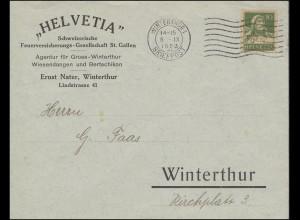 Tell mit Armbrust 10 C. EF Orts-Brief Feuerversicherung WINTERTHUR 5.9.1923