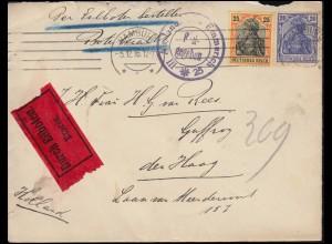 Zensur Auslandsstelle Emmerich Eil-Brief 87+88 Germania-Marken HAMBURG 5.12.16
