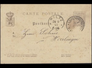 Luxemburg Postkarte P 43a Allegorie 5 C. LUXEMBOURG 23.9.83 nach Harlingen/Harel